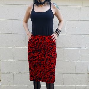 Gothic Damask Patterned Body Con Pencil Skirt